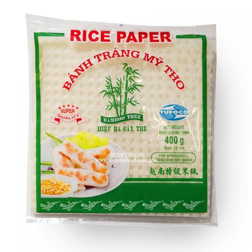 Galettes de riz carrés pour Rouleaux de printemps Bánh tráng 22cm - Bamboo Tree