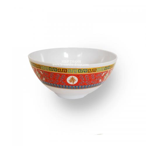 Bol chinois pour soupe et ramen en mélanine 15cm - motif rouge