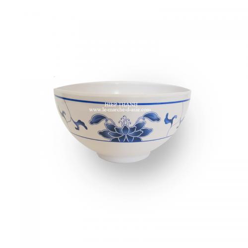 Petit bol chinois pour riz et soupe en mélanine 12.5cm - motif bleu